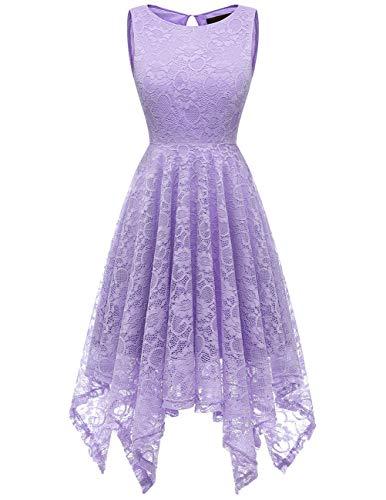 Dresstells Damen Elegant Kleid festlich Ärmellos Taschentuch Saum unregelmäßig aus Spitzen Cocktail Partykleid Lavender 3XL