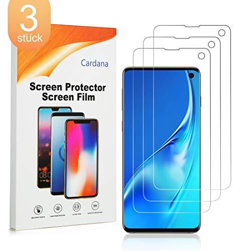 Cardana 3X Samsung Galaxy S10 Schutzfolie, Bildschirmschutzfolie[ Volle Abdeckung ][Einfache blasenfreie Installation] Panzerglasfolie, extrem langlebige Folie Transparent