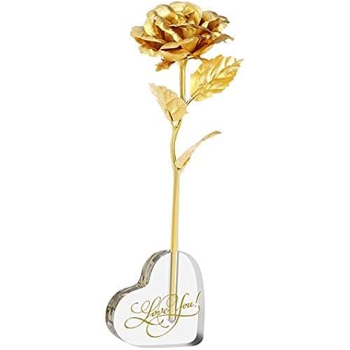 ofertas para el dia de la madre PIXNOR Flor de rosa de hoja de oro de 24K con corazón de acrílico en forma de Base de soporte, de la madre día de San Valentín regalo día regalo cumpleaños regalo aniversario
