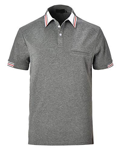 cheaper 20c23 53f85 XXIE Polo Uomo Moda Manica Corta Tennis Golf T-Shirt Poloshirt Camicia ,Grigio,