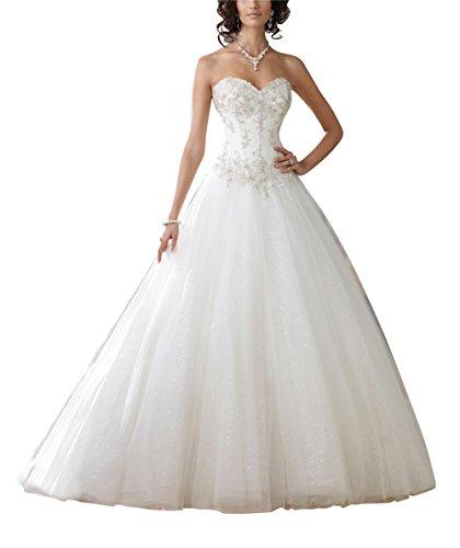 GEORGE BRIDE Garn A-Linie Prinzessin Brautkleider Hochzeitskleider, Groesse 36, Weiss