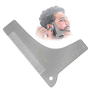Cymax Bart Schablone Bartvorlage Styling Edelstahl Bartpflege Bartschablonen Bartkamm – Symmetrische Bartschablonen und Kontur der Bartlinie