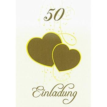 Einladungskarten Goldene Hochzeit Mit Innentext Motiv Herzen Gold 25 Klappkarten Din A6 Mit Weißen Umschlägen Im Set Einladung Goldhochzeit 50 Jahre