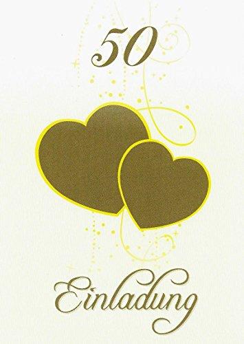 Einladungskarten goldene Hochzeit mit Innentext Motiv Herzen Gold 25 Klappkarten DIN A6 mit weißen Umschlägen im Set Einladung Goldhochzeit 50 Jahre verheiratet K23