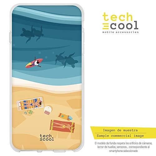 Funnytech Huawei P8 Lite Hülle SchutzHülle Soft TPU Silikon Transparent für Huawei P8 Lite l Case, Cover, Handy, High Definition Druck [Paisaje Playa Verano]
