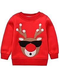 Felpe Sportive del Natale Bambini Maglione a Manica Lunga Ragazze Ragazzi Cotone Pullover
