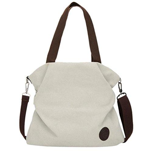 Borse donna elegante - feixiang® donne spalla borsa spiaggia - tela satchel - donna in pelle catena borsa - tote borsa crossbody spalla borsa - borse a spalla - messenger bag (beige)
