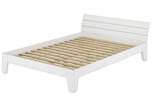 Einzelbett mit Rollrost 120x200 Massivholz Kiefer Bettgestell Futon Bett Holzbett Weiß 60.54-12 W (Holz-futon-bett)