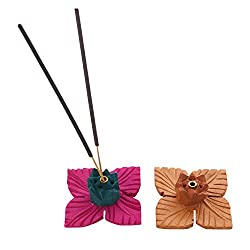 Mela Handcrafted Wooden Lotus Agarbatti/Incense Holder & Ash Catcher Set of 2 - 2 Inch x 2 Inch (Assorted Colours)