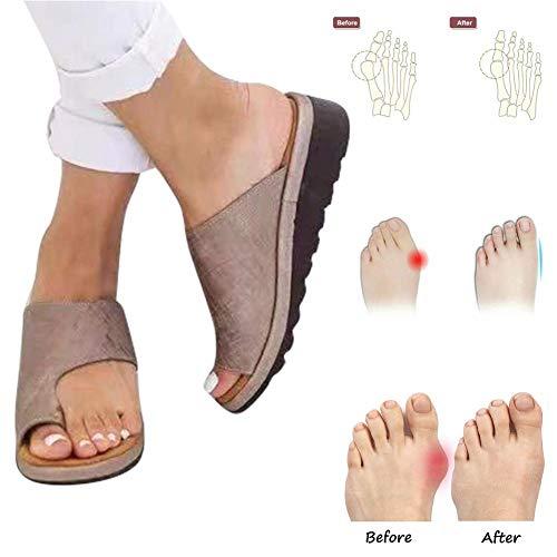YXT 2019 Neu Womens Sandals Fashion Flats Open Toe Ankle Sommer Strand Reise Für Bunion Correct Big Toe Hallux Valgus Komfortable für große Zehe Knochen Korrektur Behandlung