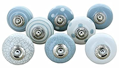 Set of 8 Grey & White Ceramic Door Knobs Vintage Shabby Chic Cupboard Drawer Pull Handles by G Decor - cheap UK light store.