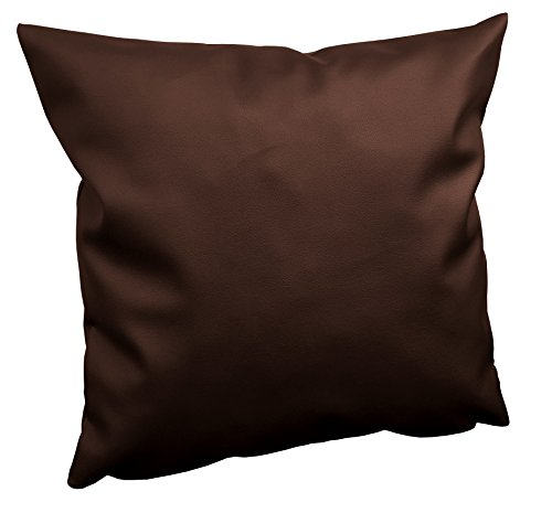Cuscino arredo per divani e pallet misura 45x45 cm completo di imbottitura - con zip - lavabile - ecopelle marrone