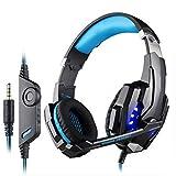 Mvlike Computer-Head-Mounted Gaming Headset 3,5 + USB-Einzelloch für PS4-Kabel, hautfreundliches Leder, Externe Soundkarte Anti-Jamming (Farbe : Schwarz)