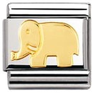 Nomination Composable Classic TIERE – LAND Edelstahl und 18K-Gold (Elefant) 030112