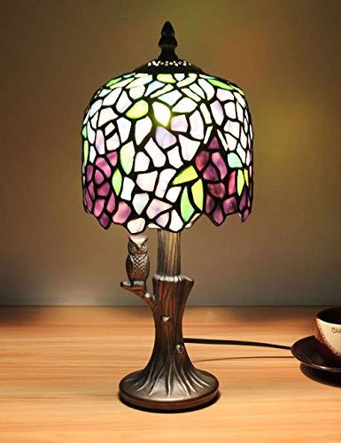 8-Zoll europäischen Vintage-Stil Glasmalerei lila Serie Tischlampe Schreibtischlampe Nachttischlampe mit Eulenbasis - Lila Glasmalerei