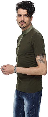 Whatlees Herren Urban Basic Henley T-shirts Muskelshirt mit weiches Jersey in Versch.Farben B009-Green