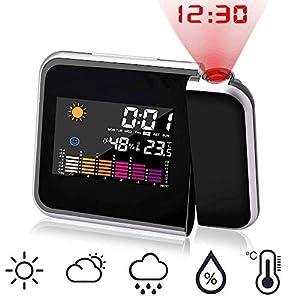 ASANMU Projektionswecker, Digital Wecker mit Projektion Taktgeber Temperaturanzeige Hygrometer/USB Aufladbar/Innentemperatur/Uhrzeit Datumsanzeige/9,27cm LCD Displaybeleuchtung/LED Backlight/Snooze