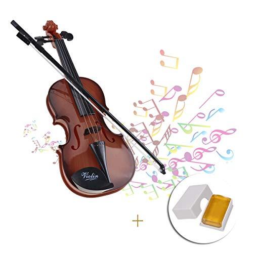 Dewel Mini Violin Mini Geigen aus Kunststoff für Kinder(Braun)