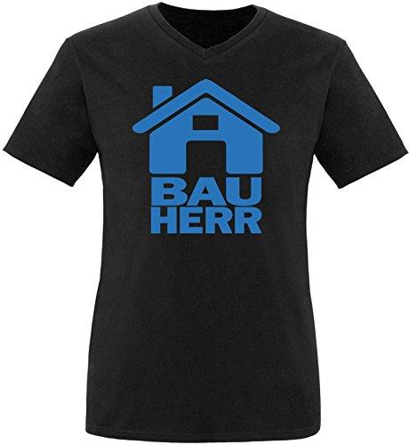 Luckja Bauherr Herren V-Neck T-Shirt Schwarz/Blau