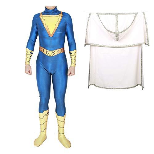 Superhelden Shazam Kostüm Kind Erwachsener Cosplay Onesies Halloween Mottoparty 3D Druck Spandex Strumpfhosen,BlueBAdult-XXXL