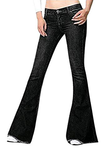Vepodrau Mujer Campana Botton Jeans Casual Denim Pantalones Acampanados Negro 36