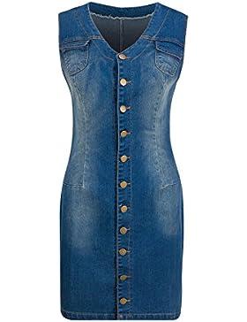 Beauty7 Falda Vaquero sin Manga Denim Vestido Mini Dress Ceñido Sexy con Cuello-V como Camisa para Bar Coctel...