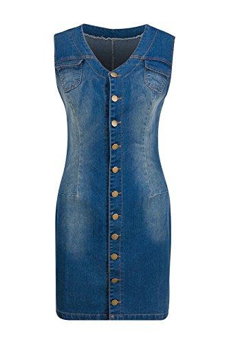 Beauty7 Damen Button-Down Ärmellos Demin Blusenkleid Etui Mini Denim Kleid Casual Wear - Farbe: Blau - Größe: EU 38 (Button-down Denim-kleid)