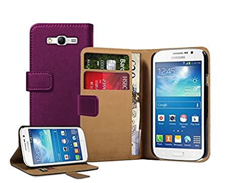 Membrane - Violet Portefeuille Etui Coque Samsung Galaxy Grand Neo (GT-i9060, GT-i9060DS, GT-i9060L) - Wallet Case Housse + 2 protections d