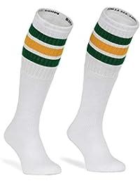 skatersocks - Calcetines de tubo americano (25 pulgadas, diseño a rayas), color blanco, verde y amarillo