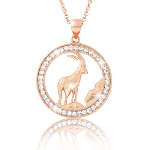 PAVEL´S elegante Damen Halskette Kette Sternzeichen STEINBOCK Roségold plattiert glänzende Zirkonia in AAA Qualität aus der Kollektion ECLIPSE inkl. Schmuckbox und Echtheits-Zertifikat