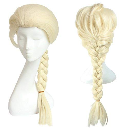 Generic Anime Cosplay Elsa wig for Disney Movies Frozen Snow Queen,Frozen,ash blond braids perücke lang w/a Free Cap,erwachsene