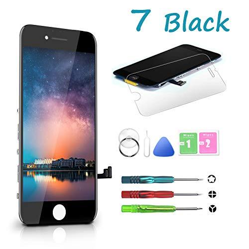 HTECHY Kompatible mit iPhone 7 Display schwarzRetina LCD Touchscreen Digitizer vormontiert Display Set Ersatz Bildschirm Glas mit Komplettes Kostenlose Werkzeug undillustriert - Das Iphone-display Schwarz
