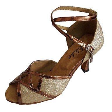 Silence @ Femme latine à bout ouvert Sandales Talon Chaussures de Salsa pour femme Plus de couleurs Silver