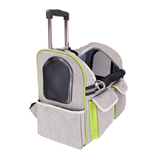 LIULINCUN 4 in 1 Pet Carrier Trolley Cats and Dogs Outing Portable Trolley Rucksack genehmigt Hund für Travel Wheel Strap,Gray