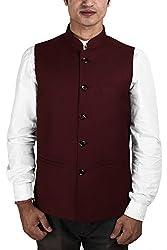 La Rainbow Mens Cotton Bandhgala Modi Jacket-Maroon (38)