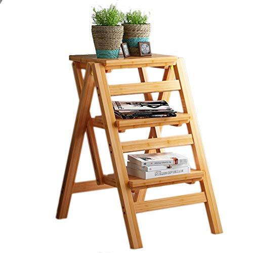 3-Stufen-Hocker für Erwachsene und Kinder, Küchenleiter Kleine Fußhocker Tragbare Schuhbank/Blumenständer Langlebig (Farbe : Holz Farbe)