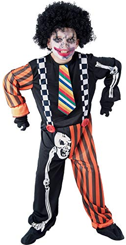 U LOOK UGLY TODAY Kinder Kostüm Halloween Clown Creepy Skelett Jumpsuit Karneval Verkleidungsparty Cosplay für Jungen - S (Creepy Clown Kostüm)