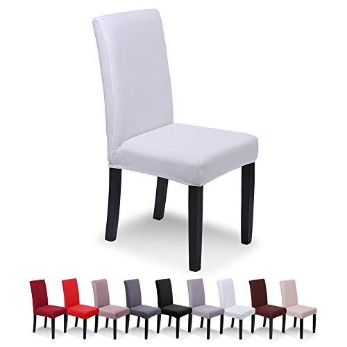 Saintderg® coprisedie con schienale 6 pezzi moderna protettiva in elastico, lavabile estraibile, coprisedile, moderna sala da pranzo, hotel, arredamento ristorante (bianca, 6 pezzi)