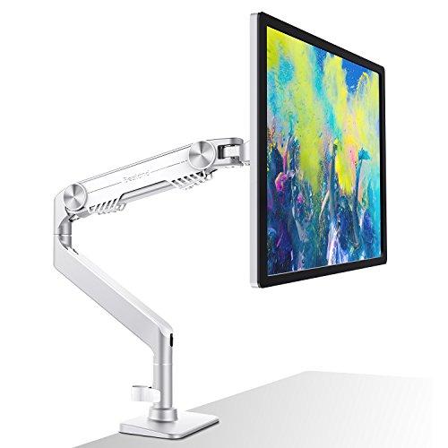 Bestand Schwenkbar Tischständer, Neigbare Drehbare Aluminium Monitor & TV Halterung für 17'' - 32'' TV Bildschirm & PC Monitor, NUR kompatibel mit VESA-Lochabstand: 75 x 75 mm, 100 x 100 mm - Weiß