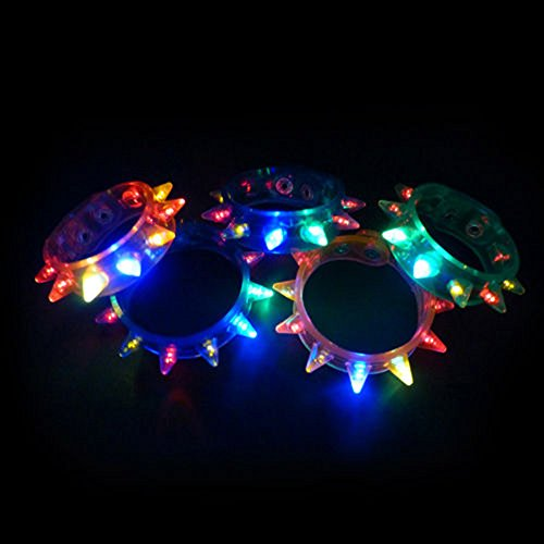Confezione da 6 Ultra misto Spike lampeggiante LED Spiky bracciale per celebrazioni di feste eventi funzioni e altro ancora