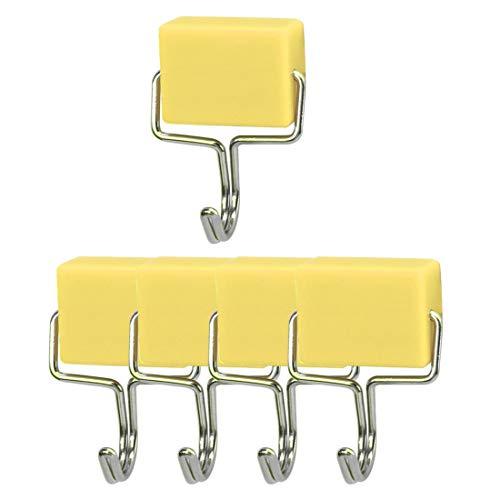 sourcing map Magnetische Wandhaken Kleiderbügel Halter Küche Bad Rack zum Aufhängen aus Edelstahl für Schlüssel Handtücher Gelb 5 Stück
