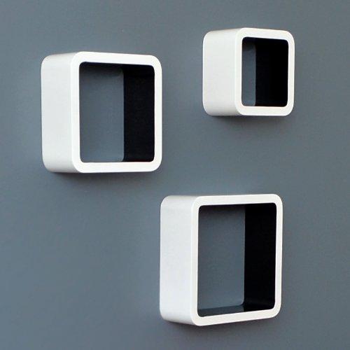 ts-ideen Lot de 3 étagères cubiques murales Design Rétro Années 70 Blanc Noir