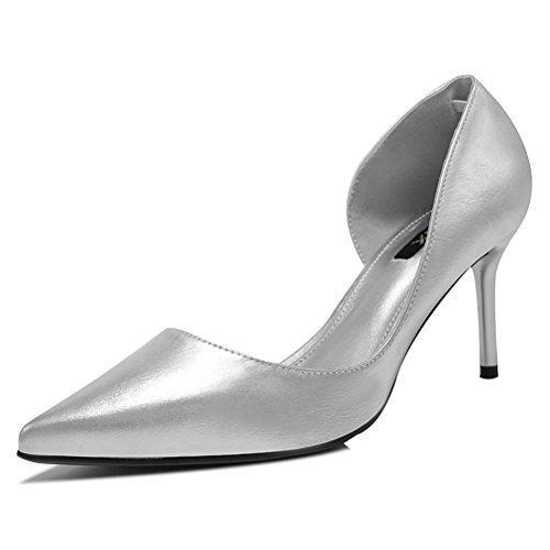 Lackleder Spitze Damen Semi Palme Metallfarbe Stilettos Neue Modische Pumps Silber