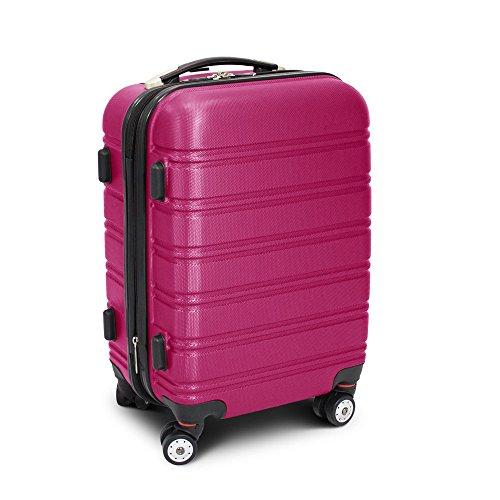 BERWIN Trolley Reisekoffer Reisetasche Gepäcktasche Größe M Line Farbe Pink