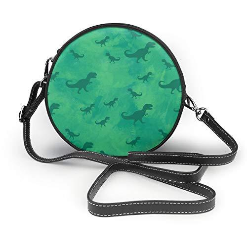 Umhängetaschen Frauen runde Taschen Grüne Dinosaurier Aquarell Grunge Hintergrund Crossbody Leder Kreis Tasche -