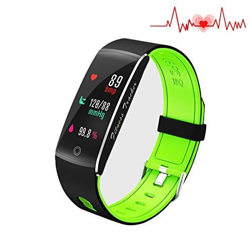 Fitness-Tracker, wasserdicht nach IP68, Herzfrequenzmesser, Smart Watch, Sport-Armband, Activity-Tracker, Schlaf- und Blutdruck-Monitor, Kalorien-/Schrittzähler für iOS und Android (F10), Grün