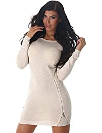 moewy Damen Feinstrick Mini Kleid Strickkleid Pullover Zipper