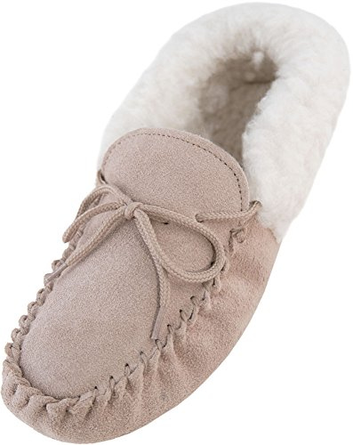 Lambland Chaussons mocassins en daim véritable et peau de mouton pour femme Semelle en daim Beige - beige