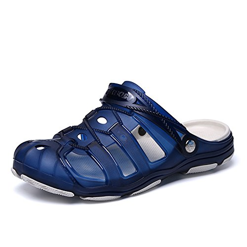 Clogs Herren Pantoletten Sommer Hausschuhe Rutschfest Gartenschuhe Badeschuhe Strand Aqua Slippers Schwarz Blau Gelb 40-45 Blau 41 (Jungen Clog-sandalen)