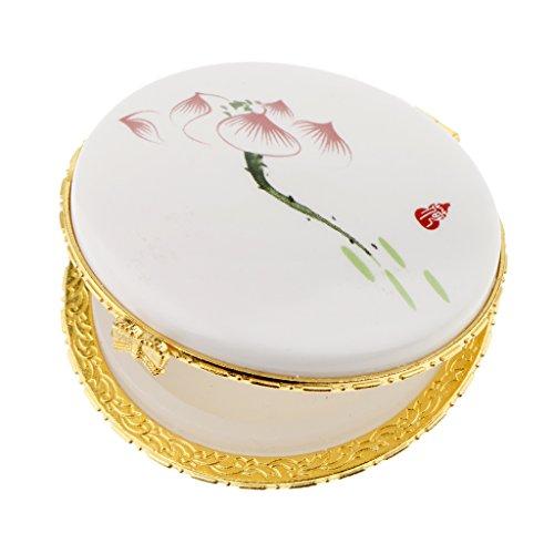 Baoblaze Keramik Dose Schmuckdose Puderdose mit Chinesischer Stil - Roter Lotus -